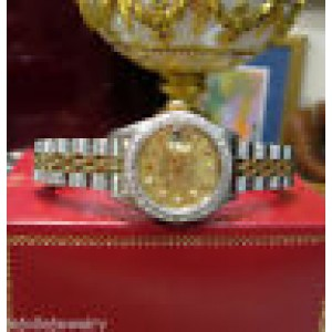 Ladies Rolex Oyster Perpetual Datejust Two-Tone 18K Gold Diamond Bezel And Dial
