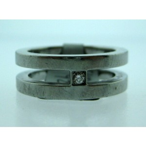 STAINLESS STEEL MOMENTS DIAMOND BAND LADIES RING SIZE 7.25
