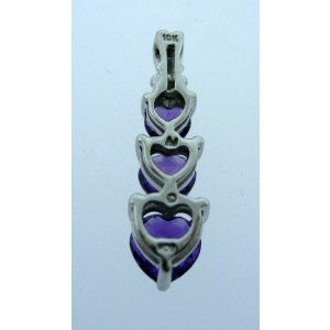 10K WHITE GOLD AMETHYST DIAMOND PENDANT NECKLACE CHARM