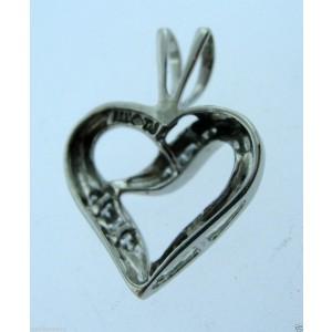 14K WHITE GOLD HEART DIAMOND PENDANT CHARM NECKLACE LOVE