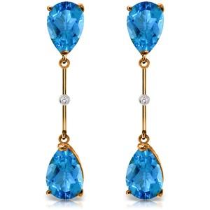 14K Solid Rose Gold Diamonds & Blue Topaz Dangling Earrings