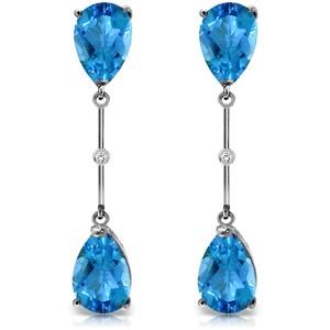 7.01 CTW 14K Solid White Gold Diamond Blue Topaz Dangling Earrings