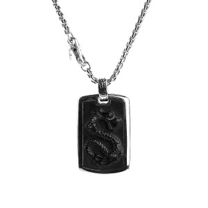 """JOHN HARDY ST. SILVER CLASSIC CHAIN LEGENDS NAGA CARVED ONYX NECKLACE 26"""""""