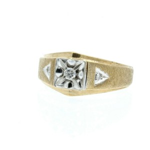 Estate 14k Yellow/White gold .12ct Diamonds Men's Ring Size 8.75