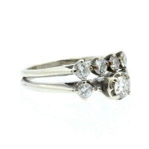 Estate 14k White gold 1.00ct Diamonds Double Ladies Ring Size 6