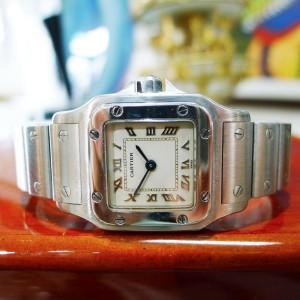Ladies Cartier Santos Stainless Steel Quartz Roman Numeral Watch