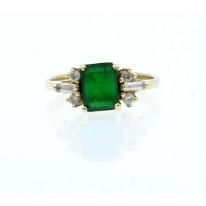14k Yellow Gold Green Stone & CZ Ladies Ring Size 8