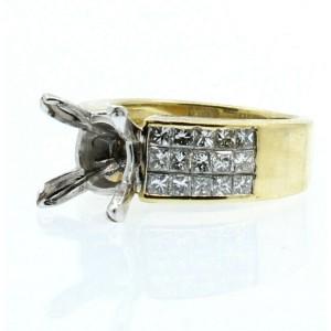 18k Yellow Gold 2.25ct Princess Cut Diamond Mounting Ladies Ring Size 6.5