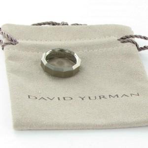 David Yurman Titanium Mens Ring 7.5mm Gray Beveled Matte Band Size 10
