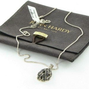 John Hardy Classic Chain Necklace Black Sapphire Pendant Sterling NBS945494BLSBN
