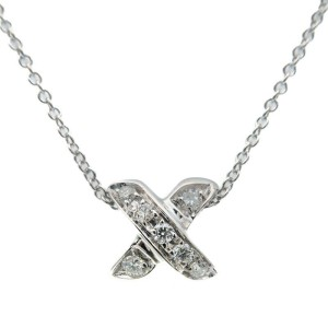 Authentic Tiffany&Co. Cross Stitch Diamond Necklace K18 WG White Gold Used F/S