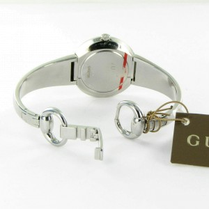 Gucci YA129502 U-Play Removable Bezel Silver Dial Ladies Watch 35mm