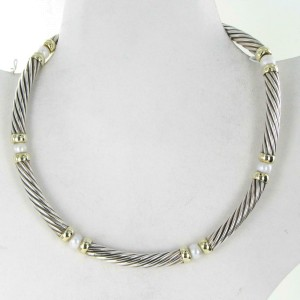 David Yurman Hampton 7mm Cable Freshwater Pearl Station Necklace Sterling 14K