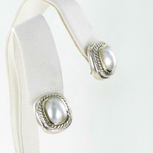 David Yurman Albion Mabe Pearl Earrings 12x9mm 14K Sterling Silver Excellent