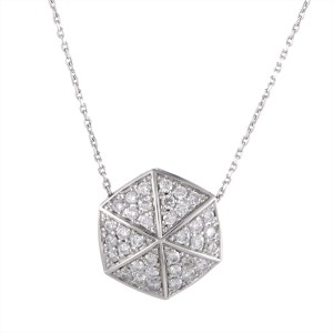 Stephen Webster Deco 18K White Gold with 0.75ct Diamond Hexagon Pendant Necklace