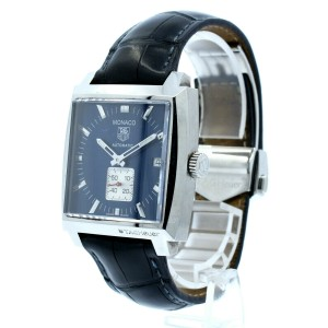 TAG HEUER MONACO STAINLESS STEEL AUTOMATIC CALIBRE 6 BLUE DIAL WATCH REF: WW2111