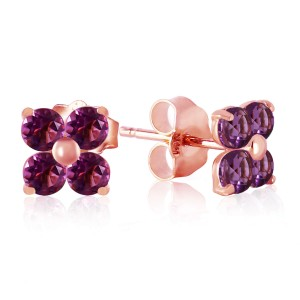 1.15 CTW 14K Solid Rose Gold Diana Amethyst Stud Earrings