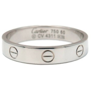 Authentic Cartier Mini Love Ring White Gold #60 US9-9.5 HK20.5 EU60.5 Used F/S