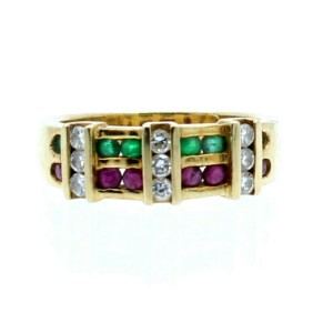 18k Yellow gold Diamond Ruby Emerald Ring Size 5.5