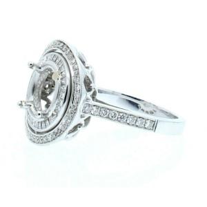 18k White Gold 2.4ct Princess Round Diamonds Ladies Mounting Size 7