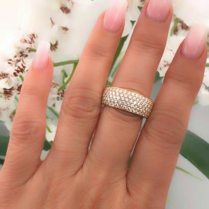 Cartier 18K Rose Gold Pave Diamond Wedding Band Ring Classic 5 Row 2.00 tcw