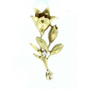 ESTATE 18K YELLOW GOLD LILY FLOWER DIAMOND PENDANT CHARM