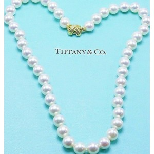 Tiffany & Co Akoya Cultured Pearl Signature X Necklace 18K Yellow Gold 9 9.5mm