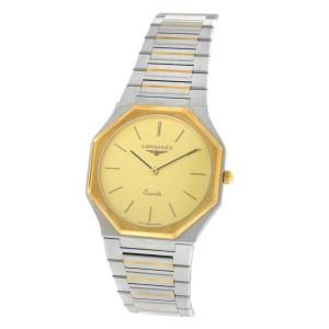AS IS Unisex Longines Octagon Steel Yellow Gold Wave Bracelet Quartz 30mm Watch