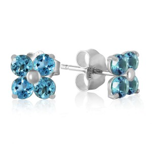1.15 CTW 14K Solid White Gold Stud Earrings Blue Topaz