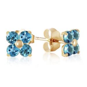1.15 CTW 14K Solid Gold Stud Earrings Blue Topaz