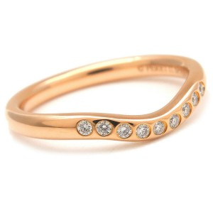 Auth Tiffany&Co. Curved Band Ring 9P Diamond Rose Gold US4 HK8.5 EU47 Used F/S