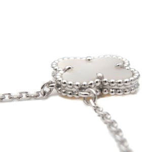 Auth Van Cleef & Arpels VCA Vintage Alhambra Necklace K18 White Gold Used F/S