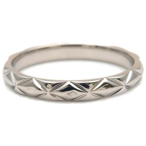 Authentic CHANEL Matelasse Ring Small 3P Diamond Platinum #49 US5 Used F/S