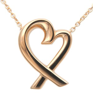 Authentic Tiffany&Co. Loving Heart Necklace K18PG Rose Gold 750PG Used F/S