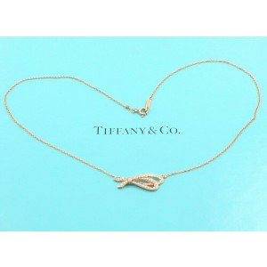Tiffany & Co. Rose Gold Diamond Bow Pendant 18K