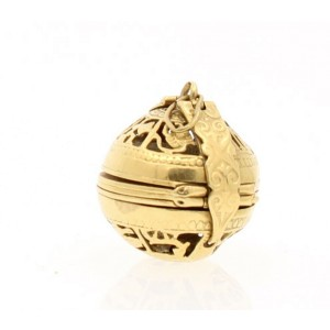 Antique 18k Yellow Gold Ball Folding Expanding Photo Locket Pendant Charm 12.1g