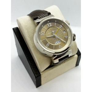 Louis Vuitton Q1154 Tambour GMT Alarm Brown Leather Strap 18K White Gold
