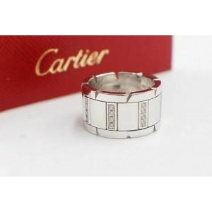 Cartier Tank Francaise Diamond Wedding Band Ring 18k White Gold Size 51 $5,000