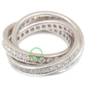 Authentic Cartier Trinity Ring Full Diamond K18 White Gold #51 US5 EU49 Used F/S