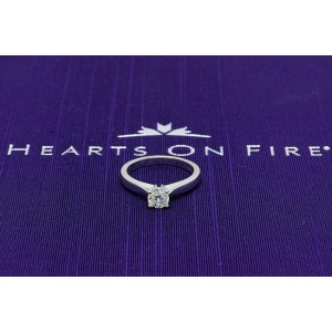 Hearts on Fire Serenity Diamond Engagement Ring Round 0.53 ct 18k White Gold