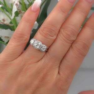 Three Stone Cushion Diamond Engagement Ring 1.17 tcw Halo Design 14k White Gold