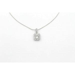 Princess Cut Diamond Pendant Necklace Halo Design in 14k White Gold 1.46 tcw