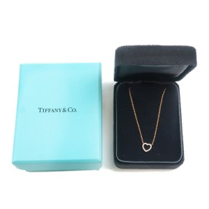 Authentic Tiffany&Co. Metro Heart Diamond Necklace K18 750PG Rose Gold Used F/S