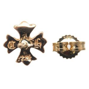 Authentic Chrome Hearts CH Plus 1P Diamond Stud Earring 22K Gold Used F/S