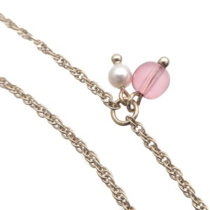 Auth CHANEL Coco Mark Imitation Pearl Multicolor Stone Necklace AB1321 Used F/S