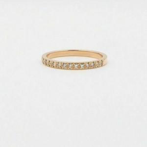 Tiffany & Co Novo 2 MM Diamond Half Circle Band Ring 18k Rose Gold