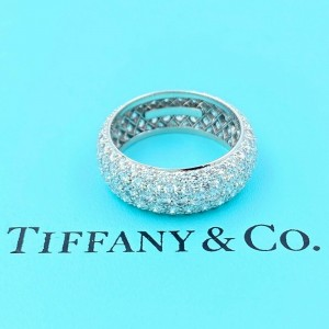 Tiffany & Co ETOILE 3.75 tcw Five Row Diamond Band Ring Platinum