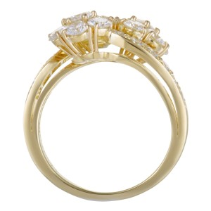 Van Cleef & Arpels Fleurette 18K Yellow Gold with 2.50ct Diamond Flower Bypass Ring Size 6.5