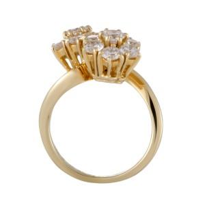 Van Cleef & Arpels Fleurette 18K Yellow Gold with 1.70ct Diamond Flower Ring Size 4.75