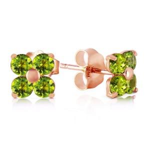1.15 CTW 14K Solid Rose Gold Diana Peridot Stud Earrings